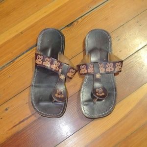 Shoes - Leather Brown Butterfly Embossed Sandals Size 7